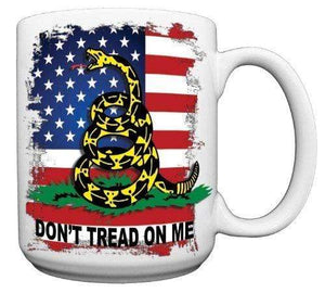 Redeye Laserworks Coffee Mug Default Don't Tread On Me 15 oz. Gadsden American Flag CERAMIC Coffee Mug