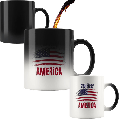 teelaunch Coffee Mug God Bless America Mug / 11 oz / Black God Bless America 11oz Color Changing Coffee Mug
