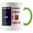 Load image into Gallery viewer, teelaunch Coffee Mug Green / 11 oz. 11 oz. Politics No Longer Left VS Right Now Lies VS Truth Ceramic Accent Coffee Mug (7 Variants)