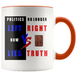 Load image into Gallery viewer, teelaunch Coffee Mug Orange / 11 oz. 11 oz. Politics No Longer Left VS Right Now Lies VS Truth Ceramic Accent Coffee Mug (7 Variants)