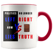 Load image into Gallery viewer, teelaunch Coffee Mug Red / 11 oz. 11 oz. Politics No Longer Left VS Right Now Lies VS Truth Ceramic Accent Coffee Mug (7 Variants)
