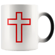 Load image into Gallery viewer, teelaunch Coffee Mug Red Cross (Interior White and Exterior Transparent) / 11 oz / Black/White The Cross 11oz Color Changing Coffee Mug (4 Variants)