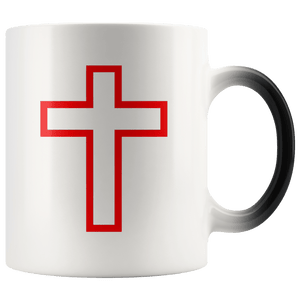 teelaunch Coffee Mug Red Cross (Interior White and Exterior Transparent) / 11 oz / Black/White The Cross 11oz Color Changing Coffee Mug (4 Variants)