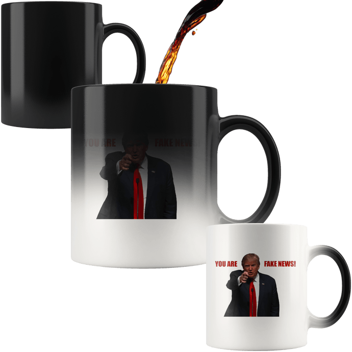 teelaunch Coffee Mug Red Text / 11 oz / Black You Are Fake News! Trump 11 oz Color Changing Coffee Mug (2 Variants)