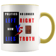 Load image into Gallery viewer, teelaunch Coffee Mug Yellow / 11 oz. 11 oz. Politics No Longer Left VS Right Now Lies VS Truth Ceramic Accent Coffee Mug (7 Variants)