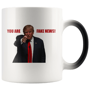 teelaunch Coffee Mug You Are Fake News! Trump 11 oz Color Changing Coffee Mug (2 Variants)