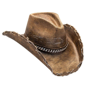 Hats Unlimited Cowboy Hat Black Stained Cowboy Hat With Chain Hat Band