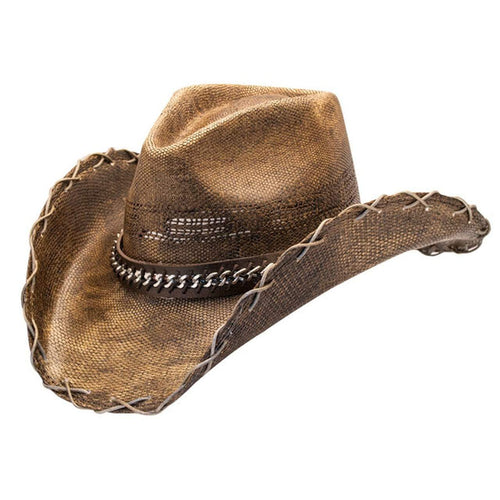 Hats Unlimited Cowboy Hat Brown / S / Genuine Bangora Straw Black Stained Cowboy Hat With Chain Hat Band