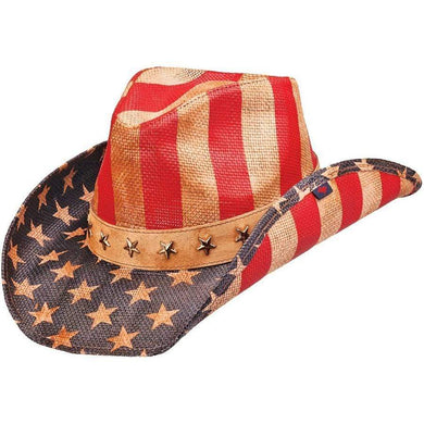 Peter Grimm Cowboy Hat Natural/Red/White/Blue / OSFA / Americana/Drifters Peter Grimm Mens Pure Justice Cowboy Hat