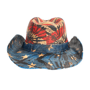 Peter Grimm Cowboy Hat Red/White/Blue/Tea Stain / OSFM / Americana/Drifters Peter Grimm Festi Drifter Hat