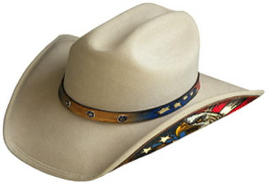 The Old West Gallery Cowboy Hat Silver Wool / S Wool Eagle American Flag Cowboy Hat With Leather Patriot Hat Band