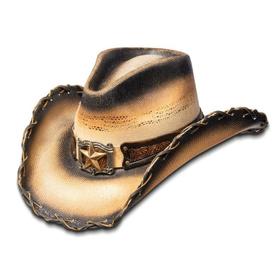 Hats Unlimited Cowboy Hat Tea / S / Genuine Bangora Straw Tea Stained Lone Star Cowboy Hat