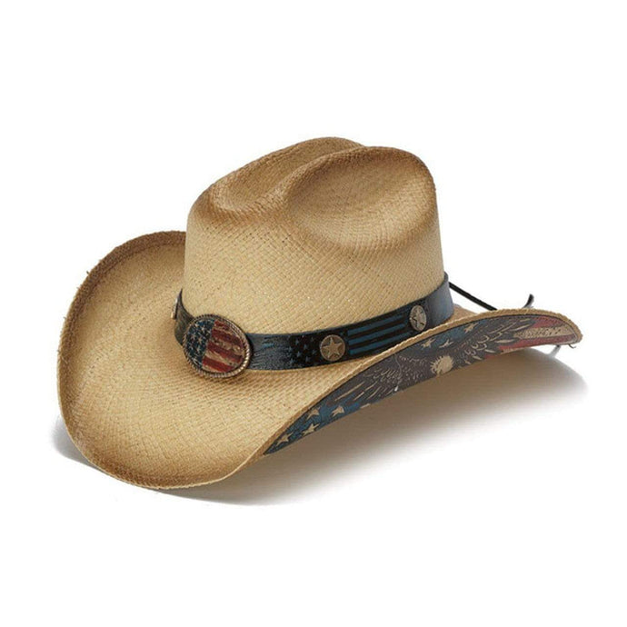 Hats Unlimited Cowboy Hat Tea Stain / S / Genuine Panama Straw Flying Eagle Brim USA Flag Cowboy Hat