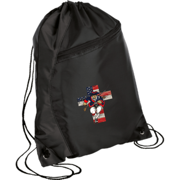 CustomCat Drawstring Bag Black/Black / One Size American Patriots for God and Country Patriot Cross BG80 Colorblock Cinch Pack (5 Variants)