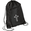 Load image into Gallery viewer, CustomCat Drawstring Bag Black/Black / One Size Black & White Cross BG80 Colorblock Cinch Pack (5 Variants)