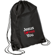 Load image into Gallery viewer, CustomCat Drawstring Bag Black/Black / One Size Jesus Loves You BG80 Colorblock Cinch Pack (5 Variants)