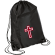 Load image into Gallery viewer, CustomCat Drawstring Bag Black/Black / One Size Red & White Cross BG80 Colorblock Cinch Pack (5 Variants)