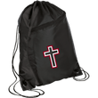 Load image into Gallery viewer, CustomCat Drawstring Bag Black/Black / One Size Red & White Cross With Transparent Interior BG80 Colorblock Cinch Pack (5 Variants)
