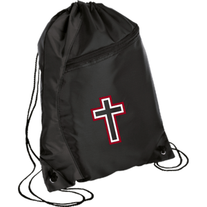 CustomCat Drawstring Bag Black/Black / One Size Red & White Cross With Transparent Interior BG80 Colorblock Cinch Pack (5 Variants)