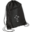 Load image into Gallery viewer, CustomCat Drawstring Bag Black/Black / One Size White Cross BG80 Colorblock Cinch Pack (5 Variants)