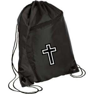 CustomCat Drawstring Bag Black/Black / One Size White Cross BG80 Colorblock Cinch Pack (5 Variants)