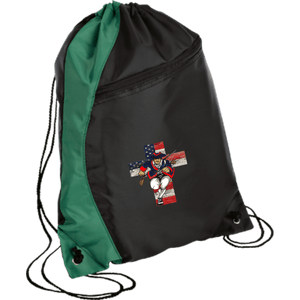 CustomCat Drawstring Bag Black/Hunter Green / One Size American Patriots for God and Country Patriot Cross BG80 Colorblock Cinch Pack (5 Variants)