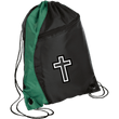 Load image into Gallery viewer, CustomCat Drawstring Bag Black/Hunter Green / One Size Black & White Cross BG80 Colorblock Cinch Pack (5 Variants)