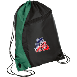 CustomCat Drawstring Bag Black/Hunter Green / One Size God Bless The USA BG80 Colorblock Cinch Pack (5 Variants)
