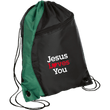 Load image into Gallery viewer, CustomCat Drawstring Bag Black/Hunter Green / One Size Jesus Loves You BG80 Colorblock Cinch Pack (5 Variants)