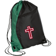 Load image into Gallery viewer, CustomCat Drawstring Bag Black/Hunter Green / One Size Red & White Cross BG80 Colorblock Cinch Pack (5 Variants)