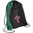 Load image into Gallery viewer, CustomCat Drawstring Bag Black/Hunter Green / One Size Red & White Cross With Transparent Interior BG80 Colorblock Cinch Pack (5 Variants)