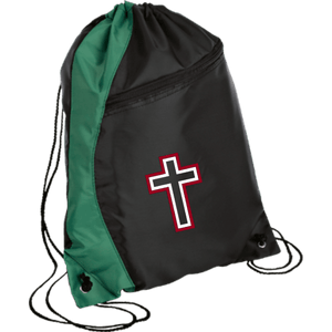 CustomCat Drawstring Bag Black/Hunter Green / One Size Red & White Cross With Transparent Interior BG80 Colorblock Cinch Pack (5 Variants)