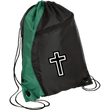 Load image into Gallery viewer, CustomCat Drawstring Bag Black/Hunter Green / One Size White Cross BG80 Colorblock Cinch Pack (5 Variants)