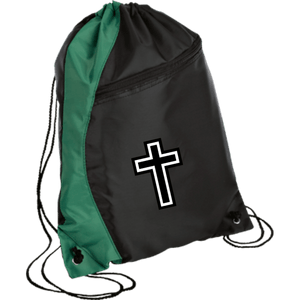CustomCat Drawstring Bag Black/Hunter Green / One Size White Cross BG80 Colorblock Cinch Pack (5 Variants)