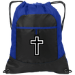 Load image into Gallery viewer, CustomCat Drawstring Bag Black/Hyper Blue / One Size Black & White Cross Port Authority Pocket Cinch Drawstring Pack (4 Variants)