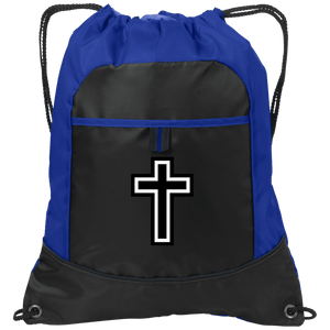 CustomCat Drawstring Bag Black/Hyper Blue / One Size Black & White Cross Port Authority Pocket Cinch Drawstring Pack (4 Variants)
