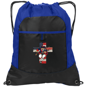 CustomCat Drawstring Bag Black/Hyper Blue / One Size Charging Patriot Cross Port Authority Pocket Cinch Drawstring Pack (4 Variants)
