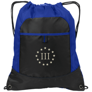 CustomCat Drawstring Bag Black/Hyper Blue / One Size III% Port Authority Pocket Cinch Drawstring Pack (4 Variants)