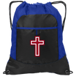 Load image into Gallery viewer, CustomCat Drawstring Bag Black/Hyper Blue / One Size Red & White Cross BG611 Pocket Cinch Pack (4 Variants)