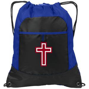CustomCat Drawstring Bag Black/Hyper Blue / One Size Red & White Cross BG611 Pocket Cinch Pack (4 Variants)