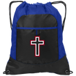 Load image into Gallery viewer, CustomCat Drawstring Bag Black/Hyper Blue / One Size Red & White Cross With Transparent Interior BG611 Pocket Cinch Pack (4 Variants)