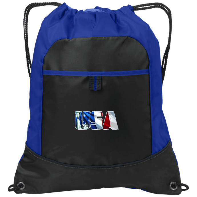 CustomCat Drawstring Bag Black/Hyper Blue / One Size USA Statue of Liberty Port Authority Pocket Cinch Drawstring Pack (7 Variants)