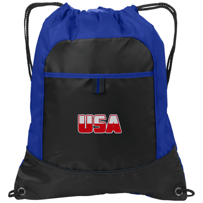 CustomCat Drawstring Bag Black/Hyper Blue / One Size White & Red USA Port Authority Pocket Cinch Drawstring Pack (7 Variants)