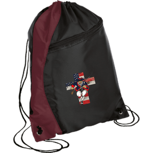 CustomCat Drawstring Bag Black/Maroon / One Size American Patriots for God and Country Patriot Cross BG80 Colorblock Cinch Pack (5 Variants)