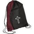 Load image into Gallery viewer, CustomCat Drawstring Bag Black/Maroon / One Size Black & White Cross BG80 Colorblock Cinch Pack (5 Variants)
