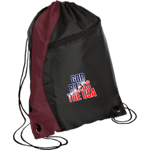 CustomCat Drawstring Bag Black/Maroon / One Size God Bless The USA BG80 Colorblock Cinch Pack (5 Variants)