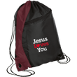 Load image into Gallery viewer, CustomCat Drawstring Bag Black/Maroon / One Size Jesus Loves You BG80 Colorblock Cinch Pack (5 Variants)