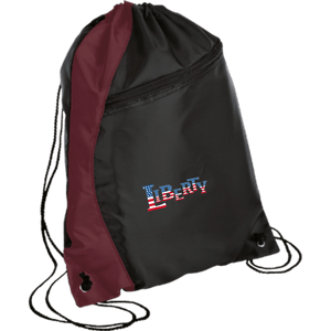 CustomCat Drawstring Bag Black/Maroon / One Size LIBERTY BG80 Colorblock Cinch Pack (5 Variants)