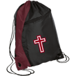 Load image into Gallery viewer, CustomCat Drawstring Bag Black/Maroon / One Size Red & White Cross BG80 Colorblock Cinch Pack (5 Variants)