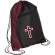Load image into Gallery viewer, CustomCat Drawstring Bag Black/Maroon / One Size Red & White Cross With Transparent Interior BG80 Colorblock Cinch Pack (5 Variants)